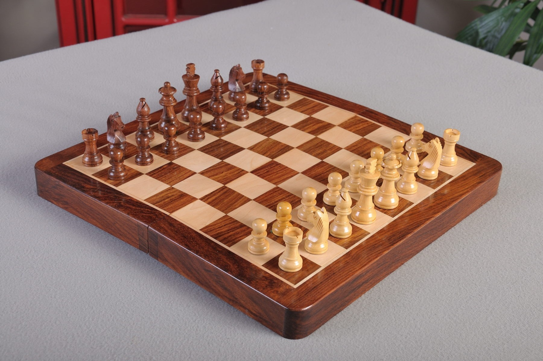 """12/"""" USCF Sales FOLDING WOODEN MAGNETIC Travel Chess Set"""