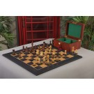 The Burnt Golden Rosewood Reykjavik II Series Chess Set, Box, & Satin Olivewood Board Combination
