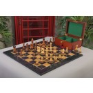 The Burnt Golden Rosewood Zagreb Series Chess Set, Box, & Gloss Olivewood Board Combination