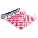 Valentine's Day Quiver Chess Set Combination - Single Weighted Regulation Pieces | Vinyl Chess Board | Quiver Bag