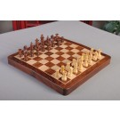 "ECONOMY - FOLDING WOODEN MAGNETIC Travel Chess Set - 12"" - Golden Rosewood and Maple"