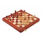 "FOLDING WOODEN MAGNETIC Travel Chess Set - 12"" - Blood Rosewood and Maple"