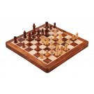 """WOODEN FOLDING MAGNETIC Travel Chess Set - 12"""" - Golden Rosewood and Maple"""