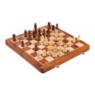 """WOODEN FOLDING MAGNETIC Travel Chess Set - 14"""" - Golden Rosewood and Maple"""