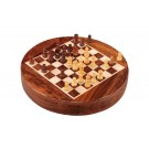 """MAGNETIC WOODEN Travel Chess Set - 9"""" Circle - Golden Rosewood and Maple"""
