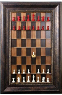 """Straight Up Chess Board - Dark Walnut Series with wide 4 1/4"""" Antique Bronze Frame with Gold Trim"""