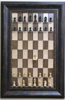 Straight Up Chess Board - Maple Nut Chess Board with Wide Antique Bronze Frame and Gold Trim