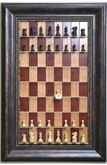 "Straight Up Chess Board - Red Cherry Board with a 4 1/4"" wide Antique Bronze frame with gold trim"