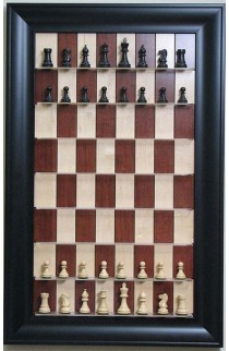 Straight Up Chess Board - Red Maple Chess Board with Contemporary Black Frame