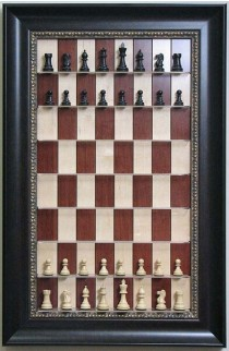 """Straight Up Chess Board - Red Maple Chess Board with 3 1/2"""" Dark Bronze Frame"""