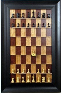 """Straight Up Chess Board - Red Cherry Board with 3 1/2"""" Wide Scoop Frame"""