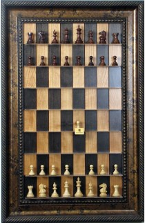 Straight Up Chess Board - Black Cherry Series with Black Gold Frame