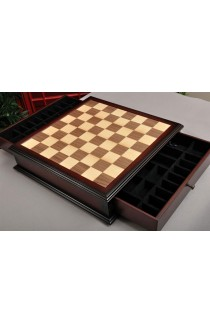 Walnut and Maple Classical Tiroir Chess Board with Storage Drawers