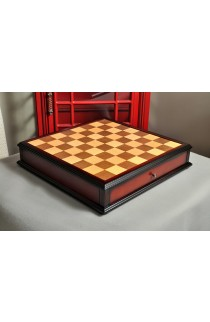 Walnut and Maple Antique Tiroir Chess Board with Storage Drawers