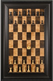 Straight Up Chess Board - Cherry Bean Series with Brown Traditional Frame