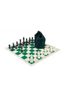 Drawstring Chess Set Combination - Single Weighted Regulation Pieces   Vinyl Chess Board   Drawstring Bag