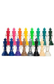Plastic Chess Pieces Key Chains - Color King