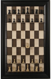 Straight Up Chess Board - Maple Nut Series with Black Contemporary Frame