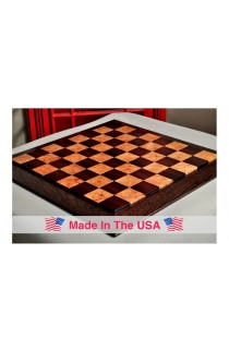 "Custom Contemporary Chess Board - African Palisander / Maple Burl - 2.5"" Squares"