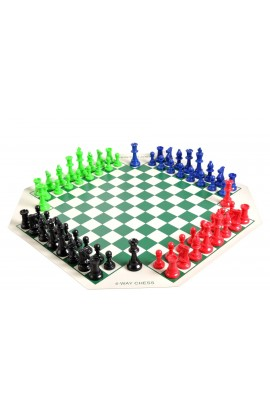 4 Player Chess Set Combination - Triple Weighted Regulation Colored Chess Pieces & 4 Player Vinyl Chess Board