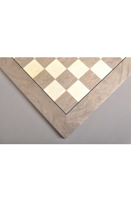 Grey Erable and Bird's Eye Maple Standard Traditional Chess Board - Gloss Finish - 2.375""