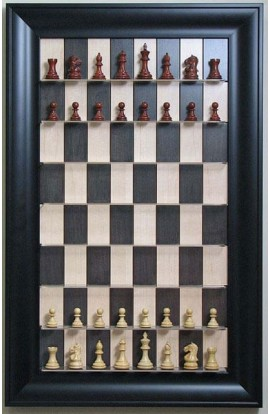 "Straight Up Chess Board - Black Maple Board with 3"" Black Contemporary Frame"