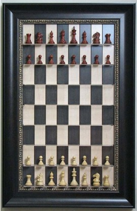 "Straight Up Chess Board - Black Maple Board with 3 1/2"" Dark Bronze Frame and Gold Trim"