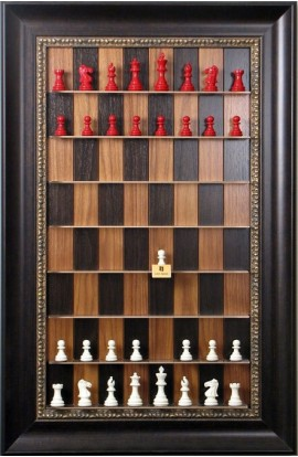 "Straight Up Chess Board - Dark Walnut Chess Board with 3 1/2"" Dark Bronze Frame with Gold Trim"