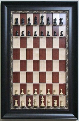 "Straight Up Chess Board - Red Maple Chess Board with 3 1/2"" Dark Bronze Frame"