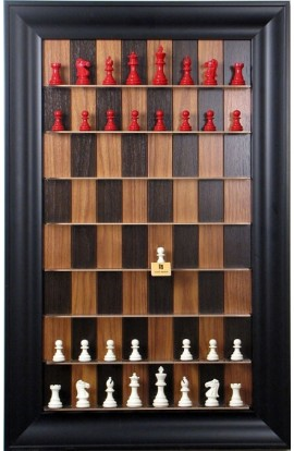 "Straight Up Chess Board - Dark Walnut Series with 3"" Black Contemporary Frame"