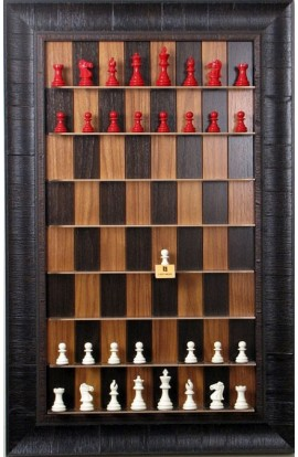 Straight Up Chess Board - Dark Walnut Series with Rustic Brown Frame