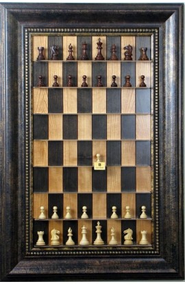 "Straight Up Chess Board - Black Cherry Board with a 4 1/4"" wide Antique Bronze frame with Gold Trim"