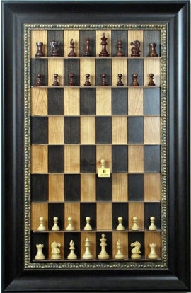 "Straight Up Chess Board - Black Cherry Series with 3 1/2"" Dark Bronze Frame"