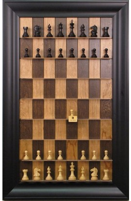 "Straight Up Chess Board - Cherry Bean Board with 3"" Black Contemporary Frame"