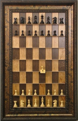 "Straight Up Chess Board - Cherry Bean Board with 3 1/2"" Black Gold Frame"