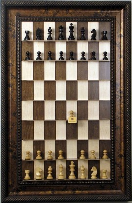 Straight Up Chess Board - Maple Nut with Black Gold Frame with Rope Trim