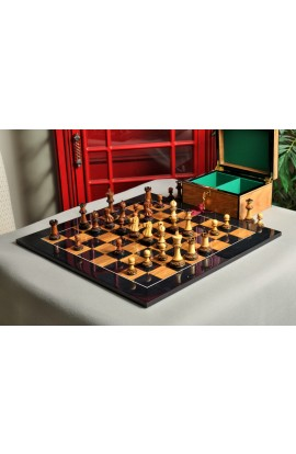 The Burnt Golden Rosewood Grandmaster Series Chess Set, Box, & Gloss Olivewood Board Combination