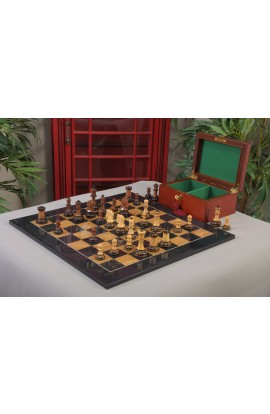 The Burnt Golden Rosewood Dubrovnik Series Chess Set, Box, & Board Combination