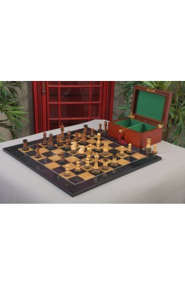 The Burnt Golden Rosewood Reykjavik II Series Chess Set, Box, & Board Combination