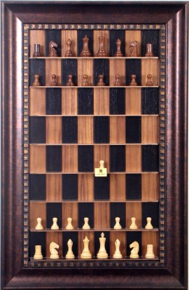 Straight Up Chess Board - Black Walnut Series with Checkered Bronze Frame