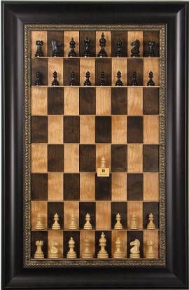 Straight Up Chess Board - Cherry Bean Series with Dark Bronze Frame