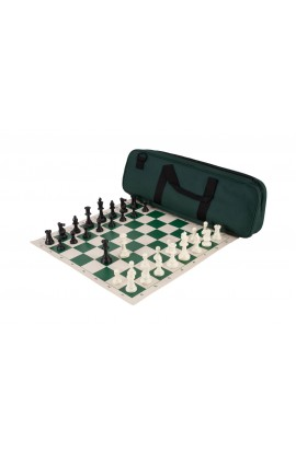 Deluxe Chess Set Combination - Solid Plastic Regulation Pieces | Vinyl Chess Board | Deluxe Bag