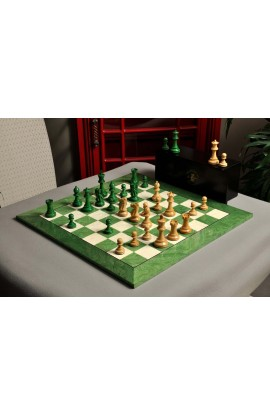 The Grandmaster Chess Set, Box, & Board Combination - Green Gilded