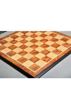 "Luxe Traditional Chess Board - BUBINGA BURL / MAPLE - 2.5"" Squares"