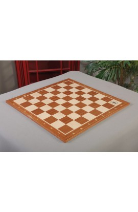 "IMPERFECT - Mahogany & Maple Wooden Tournament Chess Board – 2.25"" Squares - w/ Notation & Logo"