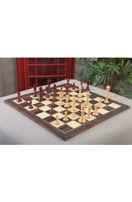 "IMPERFECT - *Custom Order* The Northern Upright Chess Pieces - 4.4"" King - Blood Rosewood & Natural Boxwood"