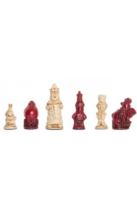 "Alice in Wonderland Chess Pieces - 3.5"" King - Red & Natural"