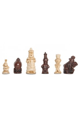 "Alice in Wonderland Chess Pieces - 3.5"" King - Brown & Natural"