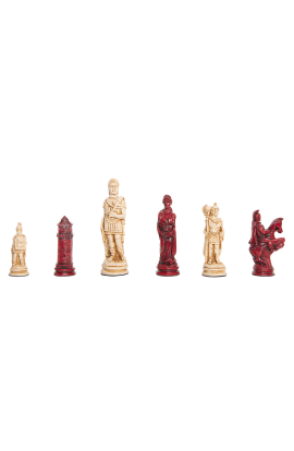 "Roman Themed Chess Pieces - 4.25"" King - Red & Natural"