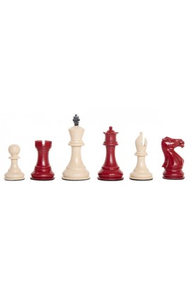 "Staunton Themed Chess Pieces - 3.5"" King - Red & Natural"